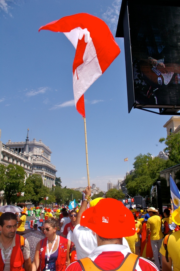 Canadian pilgrims make their way to Plaza de Cibeles with hopes of catching a glimpse of the pope.
