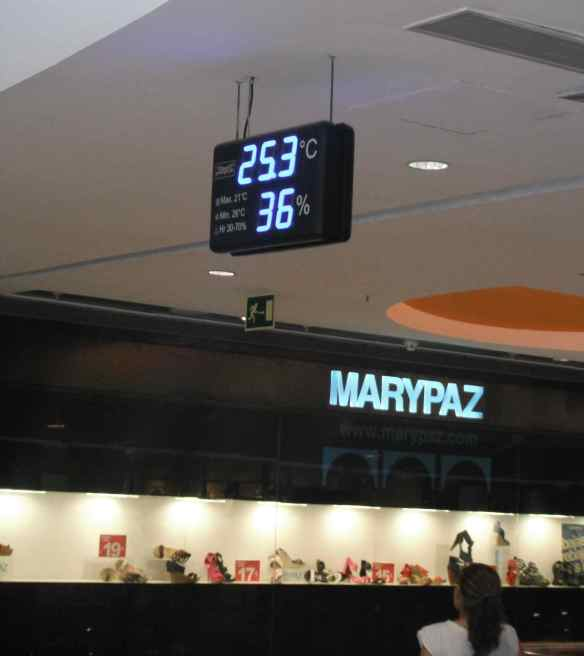 The temperature inside this mall in Madrid was a welcome escape from the heat.