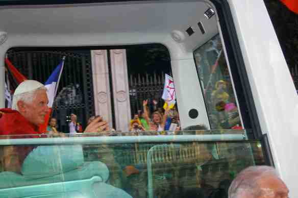 Pope Benedict XVI right in front of me in the Popemobile!