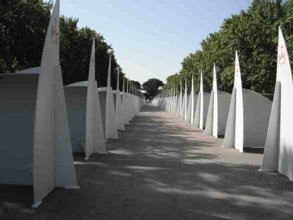 These modern-looking confessionals are part of the Festival of Forgiveness at Retiro Park.
