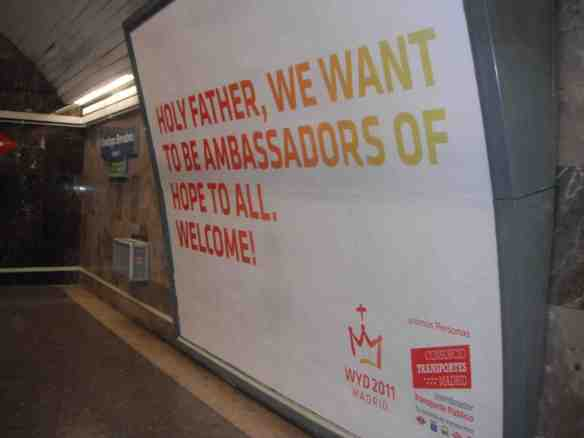WYD signs in their subway systems. (Photo by Vanessa Santilli)